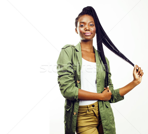 young pretty african-american girl posing cheerful emotional on  Stock photo © iordani