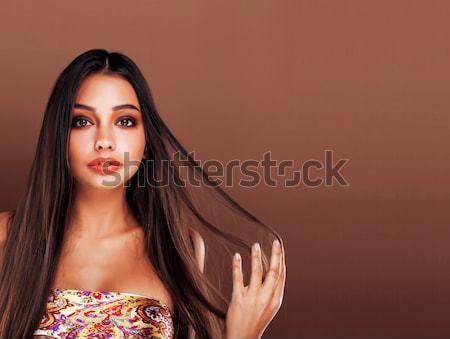 cute happy young indian woman in studio close up smiling, fashion mulatto Stock photo © iordani