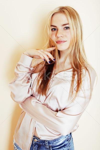 young pretty blond teenage girl close up portrait, lifestyle peo Stock photo © iordani