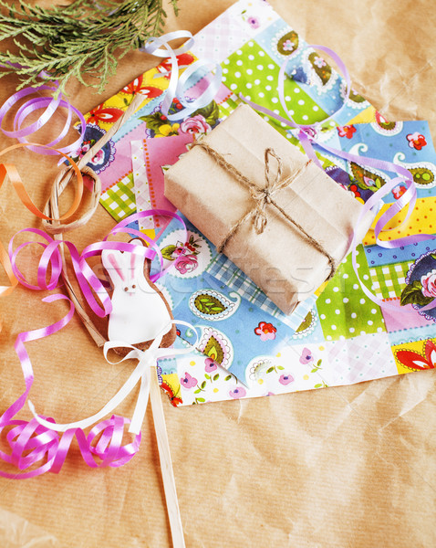 lot of stuff for handmade gifts, scissors, ribbon, paper with co Stock photo © iordani