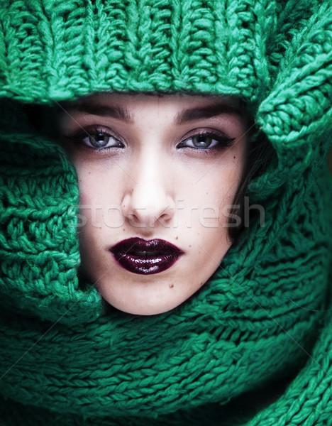小さな きれいな女性 セーター スカーフ 顔 ストックフォト © iordani