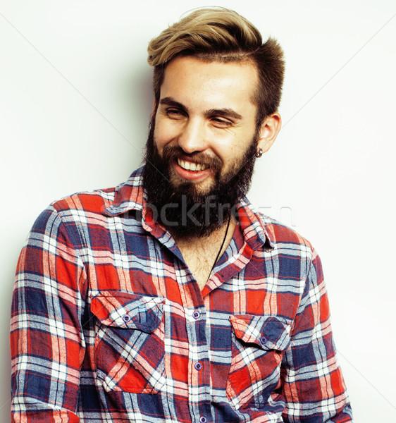 Сток-фото: молодые · красивый · бородатый · парень · глядя