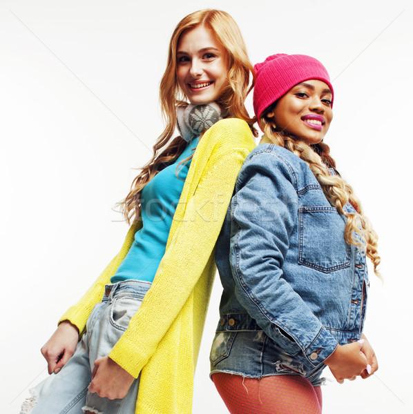 Sokoldalú nemzet lányok csoport kettő tini Stock fotó © iordani