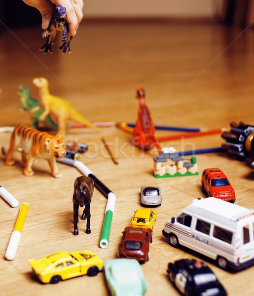 Enfants jouer jouets étage maison peu Photo stock © iordani