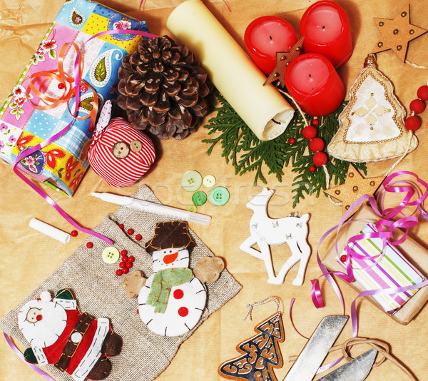 Handgemaakt geschenken schaar lint papier platteland Stockfoto © iordani