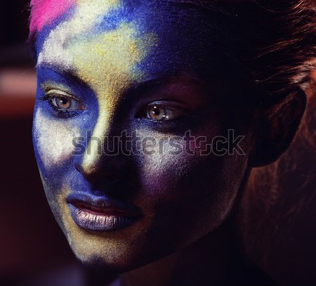 beauty afro girl with cat make up, creative leopard print closeu Stock photo © iordani