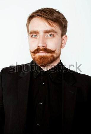 Stok fotoğraf: Genç · adam · sakal · bıyık · siyah · takım · elbise