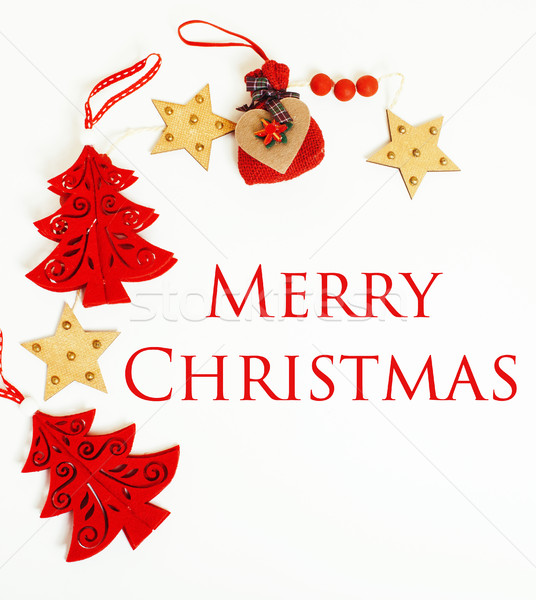 Stock photo: christmas decoration isolated , white background for post card gift vintage, copyspace for text, fas