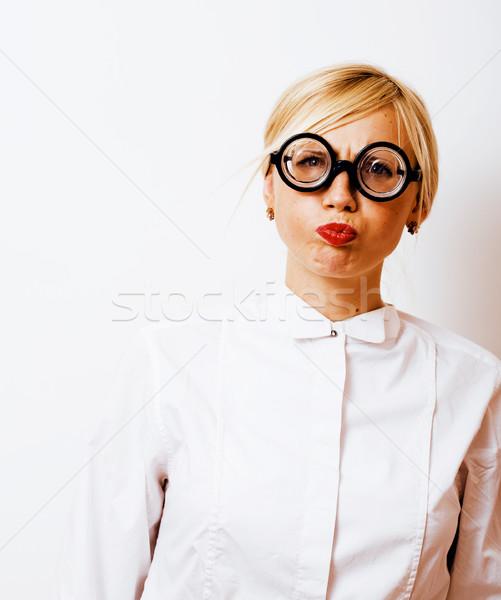 книжный червь Cute молодые женщину очки Сток-фото © iordani
