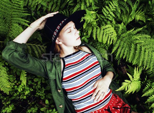 Csinos fiatal szőke lány hipszter kalap Stock fotó © iordani