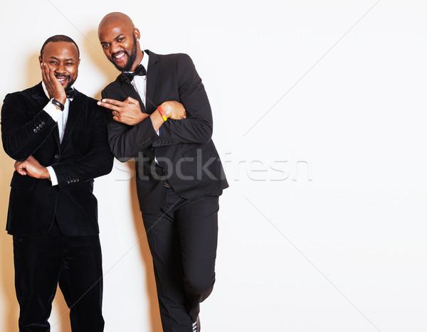 Stok fotoğraf: Iki · işadamları · siyah · suit · poz