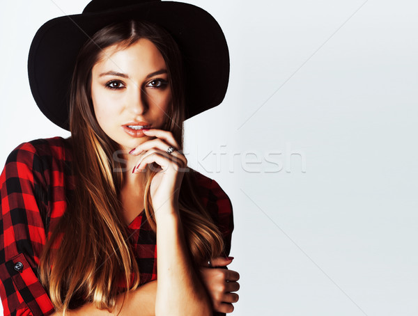 young pretty brunette girl hipster in hat on white background ca Stock photo © iordani