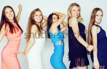 many girlfriends hugging celebration on white background, smiling talking chat, girl next door close Stock photo © iordani