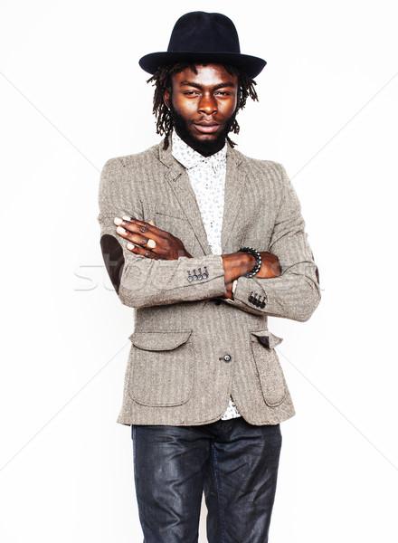 Genç yakışıklı afro amerikan erkek şık Stok fotoğraf © iordani
