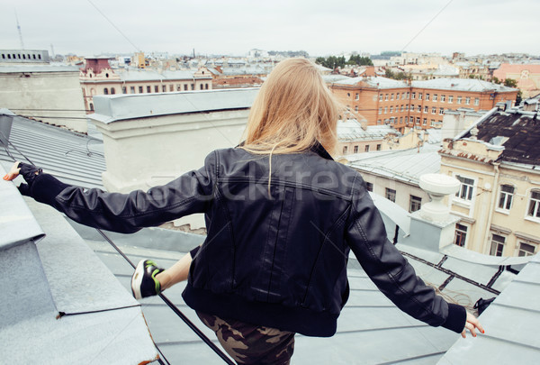 two cool blond real girls friends making selfie on roof top, lifestyle people concept, modern teens Stock photo © iordani