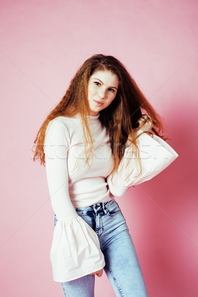 cute pretty redhair teenage girl smiling cheerful on pink background, lifestyle modern people concep Stock photo © iordani