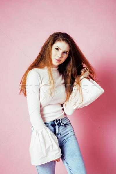 かわいい かなり 十代の少女 笑みを浮かべて ピンク ストックフォト © iordani