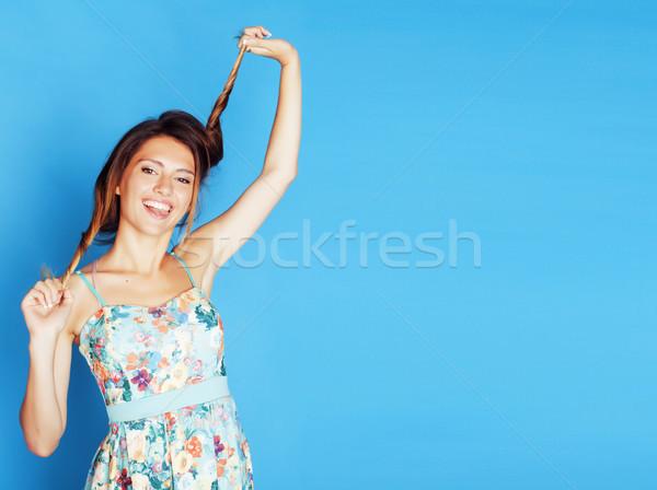 小さな きれいな女性 周りに 青 笑みを浮かべて ストックフォト © iordani