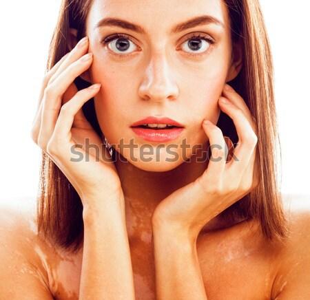 Jeunes élégante femme Creative coupe de cheveux zèbre Photo stock © iordani
