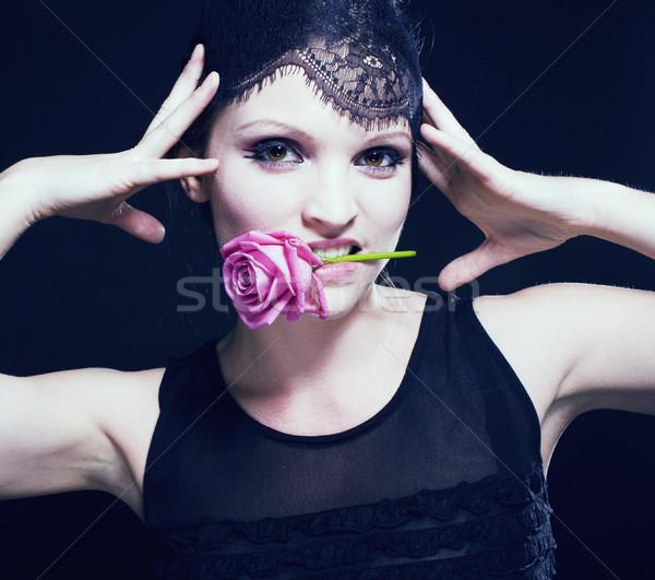 Portré szépség fiatal nő csipke smink rózsa Stock fotó © iordani