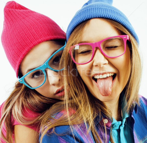 best friends teenage girls together having fun, posing emotional on white background, besties happy  Stock photo © iordani