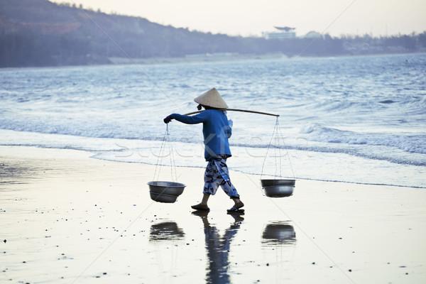 Viêt-Nam femme chapeau marche coucher du soleil bleu Photo stock © iordani
