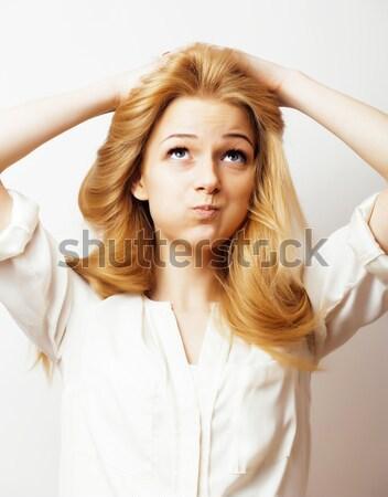 Jonge mooie vrouw blond haren witte sensueel Stockfoto © iordani