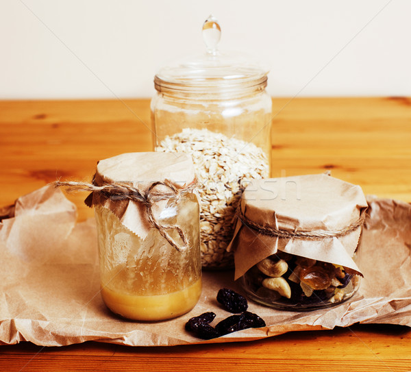 real comfort wooden kitchen with breakfast ingredients close up  Stock photo © iordani