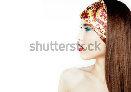 Beauty young woman with flowers and make up close up, real spring beauty girl floral pink manicure Stock photo © iordani