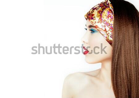 Szépség fiatal nő virágok smink közelkép igazi Stock fotó © iordani