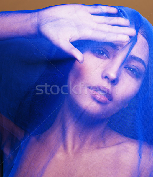 beauty young islamic woman under veil, blue hijab on face close up Stock photo © iordani