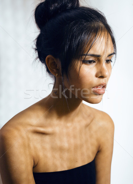 beauty latin young woman in depression, hopelessness look, fashion make up dark style Stock photo © iordani