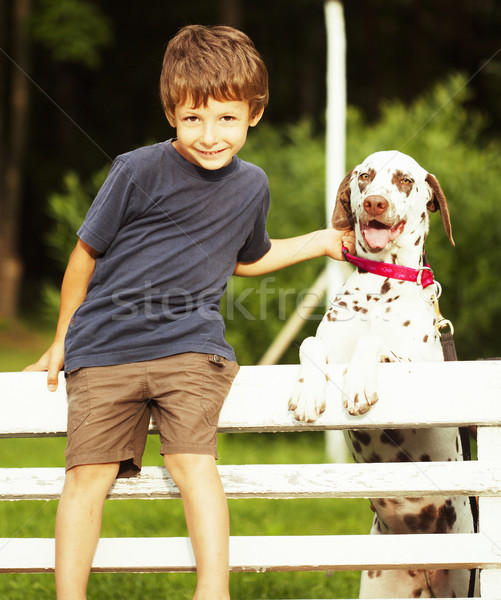 little cute boy with dalmatian dog Stock photo © iordani