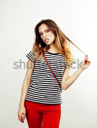 Jóvenes bastante pelo largo mujer feliz sonriendo Foto stock © iordani