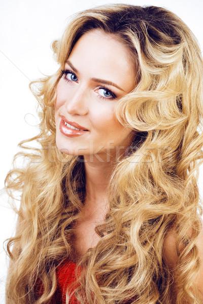 Güzellik sarışın kadın uzun kıvırcık saçlı Stok fotoğraf © iordani