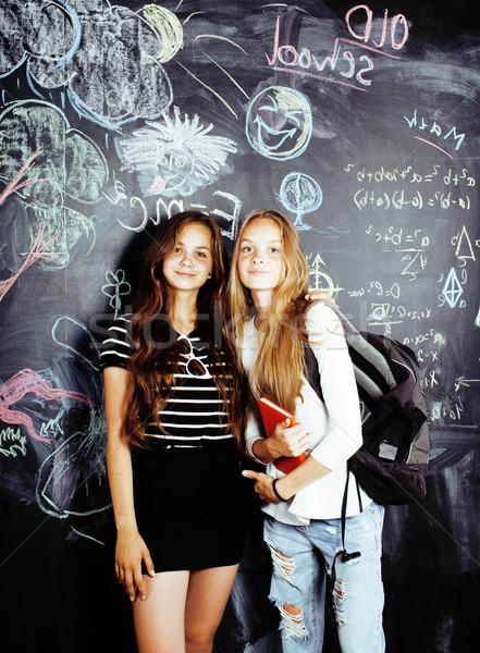 Vissza az iskolába nyár nyaralások kettő tini igazi Stock fotó © iordani