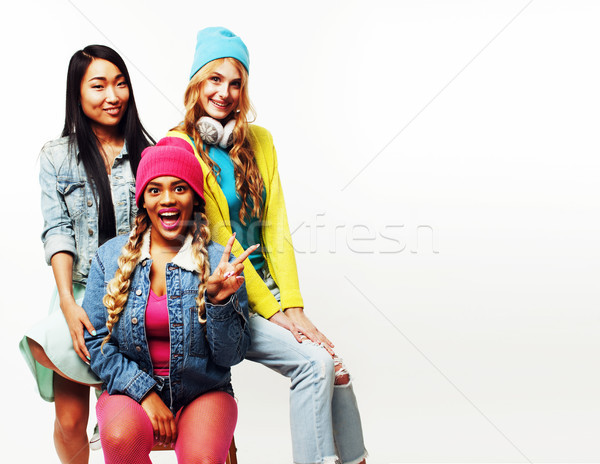 diverse nation girls group, teenage friends company cheerful hav Stock photo © iordani