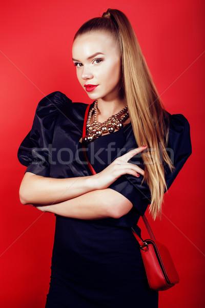 Сток-фото: молодые · красивая · женщина · Lady · позируют · красный · жизни