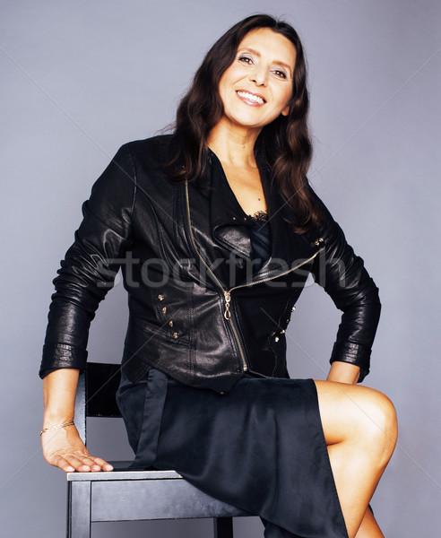 Bastante morena elegante real mulher madura sessão Foto stock © iordani