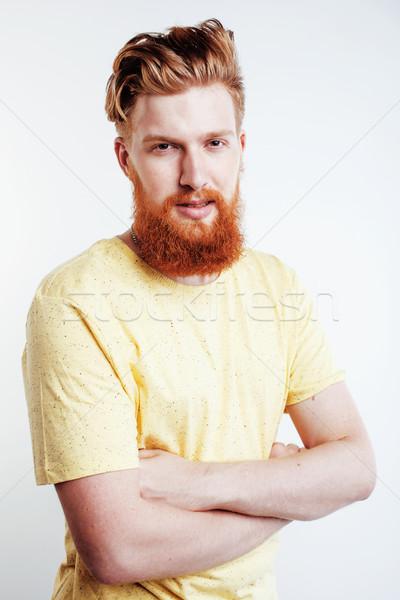Jonge knap bebaarde vent naar Stockfoto © iordani