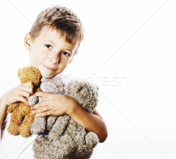 かわいい 少年 多くの テディベア ストックフォト © iordani
