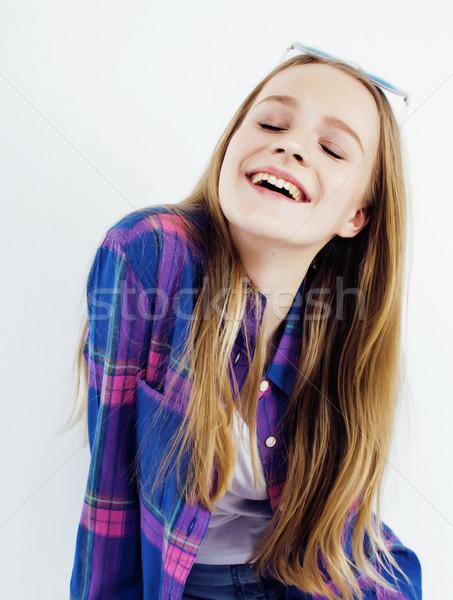 ストックフォト: 小さな · かなり · ブロンド · 十代の少女 · ポーズ