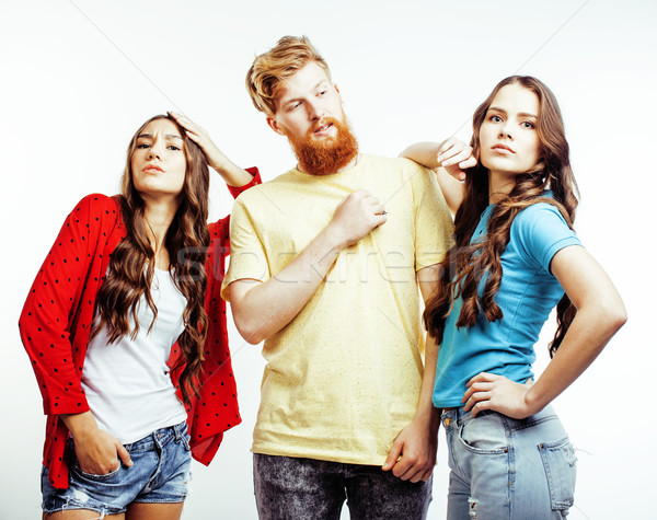 company of hipster guys, bearded red hair boy and girls students having fun together friends, divers Stock photo © iordani
