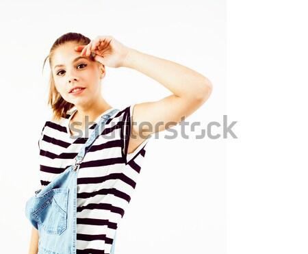 小さな きれいな女性 エレガントな ドレス 孤立した 白 ストックフォト © iordani