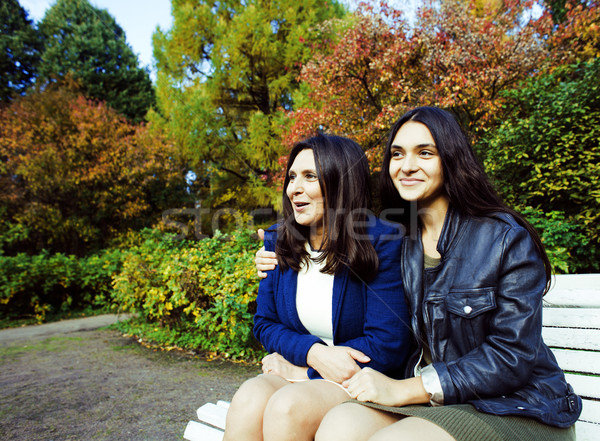 mature real mother with daughter outside in park, recreation concept, lifestyle people  Stock photo © iordani