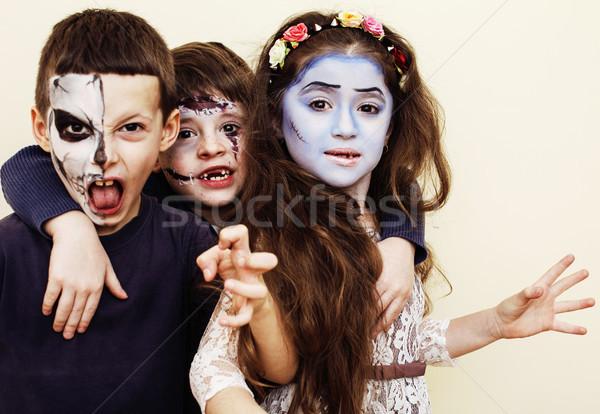 Zombi vahiy çocuklar doğum günü partisi kutlama gerçek Stok fotoğraf © iordani