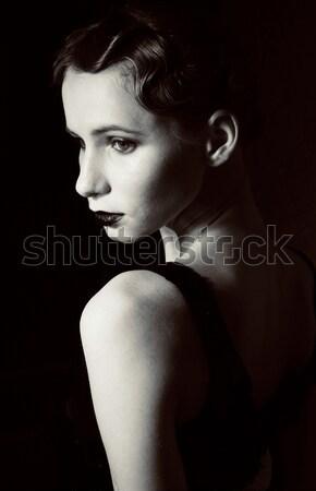 Foto stock: Belleza · rubio · mujer · estudio · negro · elegante