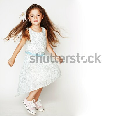 little cute spring girl in fancy dress isolated on white backgro Stock photo © iordani