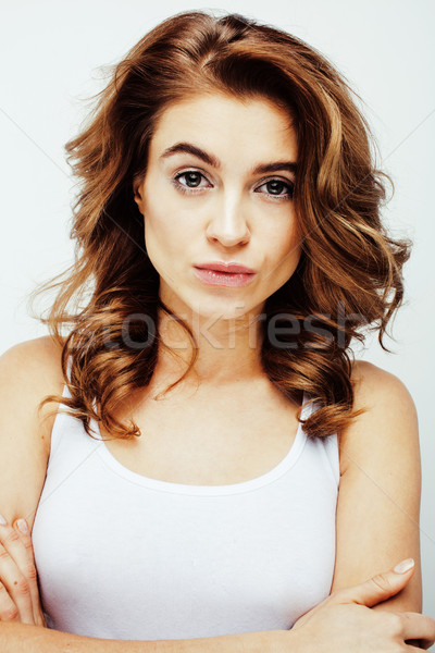 young pretty brunette woman emotional posing, happy smiling isolated on white background, lifestyle  Stock photo © iordani