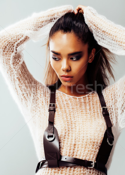 young pretty african american sexy girl with fashion make up, lifestyle people concept close up Stock photo © iordani